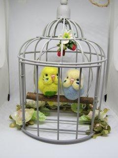 新作 羊毛フェルト 可愛いセキセイインコ達のブランコ鳥籠オブジェ 鳥 ゆこりん工房