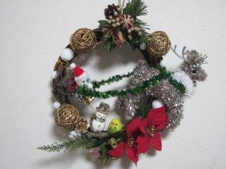 クリスマス 羊毛フェルト セキセイインコサンタがやって来たよ♪クリスマスリース ゆこりん工房