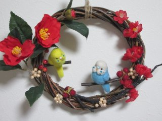 新作 新春飾り セキセイインコのロミピとジュリピット♪リース 鳥 ゆこりん工房