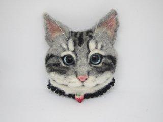 羊毛フェルト リアルで可愛いアメリカンショートヘアのブローチ 猫 ゆこりん工房