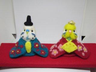 羊毛フェルト セキセイインコ雛人形 鳥 水色&イエローフェイス黄緑 ゆこりん工房