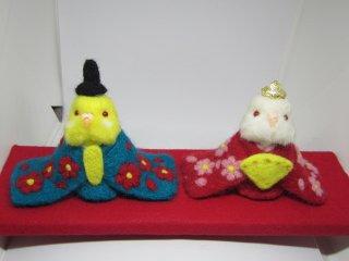 羊毛フェルト セキセイインコ雛人形 鳥 ルチノー&アルビノ ゆこりん工房