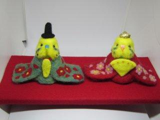 羊毛フェルト セキセイインコ雛人形 鳥 黄緑&薄黄緑 ゆこりん工房