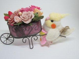 羊毛フェルト オカメインコのお花屋さん 樹脂粘土薔薇 ゆこりん工房
