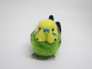 羊毛フェルト リアルで可愛いセキセイインコ 黄緑 鳥 ゆこりん工房