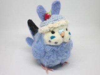 新作 激カワ(*´▽`*)ウサギ帽子セキセイインコ中雛ちゃん ブルー 鳥 ゆこりん工房