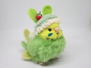 新作 激カワ(*´▽`*)ウサギ帽子セキセイインコ中雛ちゃん 黄緑 鳥 ゆこりん工房