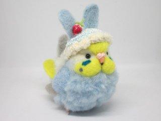 新作 激カワ(*´▽`*)ウサギ帽子セキセイインコ中雛ちゃん イエローフェイス水色 鳥 ゆこりん工房