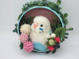 羊毛フェルト 可愛いセキセイインコのマグネットオブジェ 冷蔵庫などに♪ ゆこりん工房