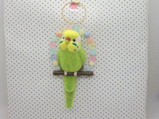 新作 大き目羊毛フェルトのセキセイインコバッグチャーム♪イエローフェリス黄緑 鳥 ゆこりん工房