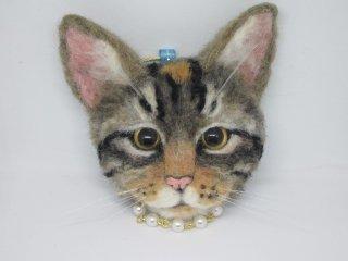 羊毛フェルト リアルで可愛いトイガーのバッグチャーム兼ブローチ 猫 ゆこりん工房