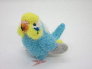 新作 羊毛フェルト リア可愛い!セキセイインコの中雛 イエローフェイス水色 鳥 ゆこりん工房