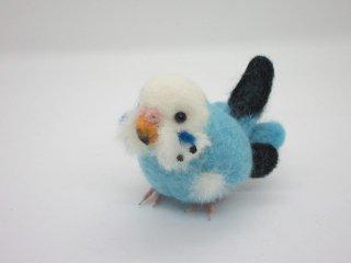 新作 羊毛フェルト リア可愛い!セキセイインコの中雛 水色 鳥 ゆこりん工房