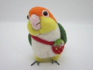 手のひらサイズ 羊毛フェルト可愛いシロハラインコ 鳥 ゆこりん工房