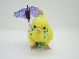 新作 梅雨 傘と可愛いセキセイインコ♪ハルクイン黄 鳥 ゆこりん工房