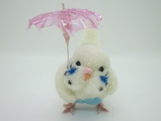 新作 梅雨 傘と可愛いセキセイインコ♪ハルクイン 鳥 ゆこりん工房