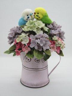 新作 可愛い紫陽花と仲良しセキセイインコのオブジェ 羊毛フェルト 樹脂粘土 鳥 ゆこりん工房