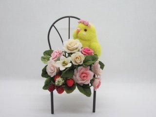 樹脂粘土薔薇苺&セキセイインコルチノーの華麗で可愛いオブジェ 黒目変更可鳥 ゆこりん工房