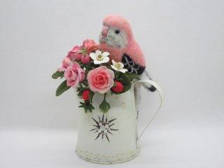 樹脂粘土薔薇苺&羊毛フェルトアキクサインコの華麗で可愛いオブジェ 鳥 ゆこりん工房