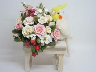 樹脂粘土薔薇苺&羊毛フェルトリアルオカメインコのオブジェ 黄 鳥 ゆこりん工房