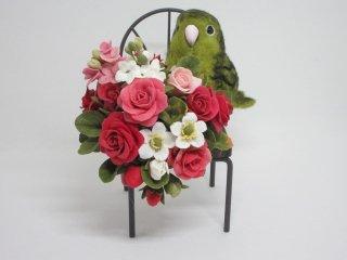 樹脂粘土薔薇&羊毛フェルト可愛いサザナミインコのオブジェ 鳥 ゆこりん工房