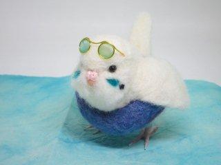夏限定 羊毛フェルト浮き輪&サングラスセキセイインコ ハルクイン水色 ゆこりん工房