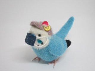 新作 コロナ対策マスク着用セキセイインコ マスク取り外し可 鳥 水色 ゆこりん工房