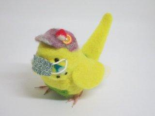 新作 コロナ対策マスク着用セキセイインコ マスク取り外し可 鳥 ハルクイン黄 ゆこりん工房