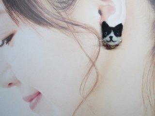 羊毛フェルト 可愛い八割れ猫のピアス♪ ゆこりん工房