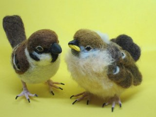 定番人気 羊毛フェルトの仲良し雀親子セット 野鳥 雀� ゆこりん工房