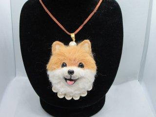 羊毛フェルト リアルで可愛いポメラニアンのネックレス 犬 ゆこりん工房