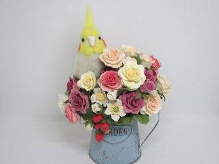 樹脂粘土薔薇苺×羊毛フェルトオカメインコオブジェ ゆこりん工房 鳥