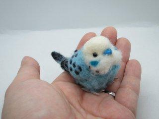 新作 ミニチュア 羊毛フェルトリアルで可愛いセキセイインコ 水色 ゆこりん工房 鳥