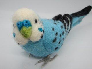 羊毛フェルト 可愛い振り向きセキセイインコ ゆこりん工房 鳥 水色
