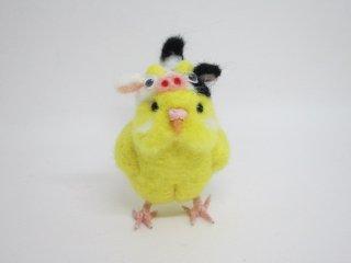 新作 丑年 羊毛フェルトの可愛い牛さんセキセイインコ 鳥 ルチノ 黒目 ゆこりん工房