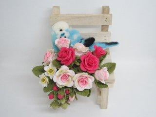 羊毛フェルト&樹脂粘土薔薇苺のお眠なセキセイインコ オブジェ ゆこりん工房