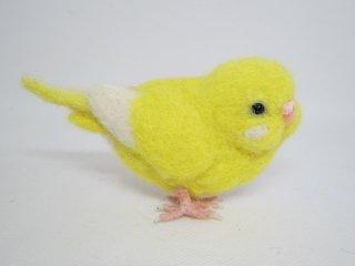 定番人気 羊毛フェルトセキセイインコ立体型ブローチピン 鳥 ゆこりん工房 ルチノ