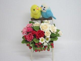 羊毛フェルト 仲良しセキセイインコ&樹脂粘土薔薇苺のオブジェ 鳥 ゆこりん工房