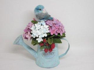 羊毛フェルト 寝んねマメルリハ & 紫陽花苺 樹脂粘土 ジョウロオブジェ ゆこりん工房 鳥