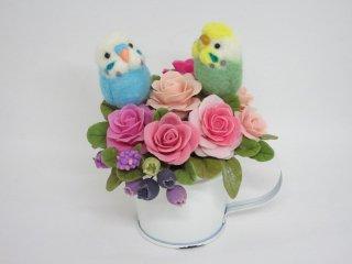 羊毛フェルト 仲良しセキセイインコ&薔薇ブルーベリーの可愛いミニオブジェ ゆこりん工房 鳥