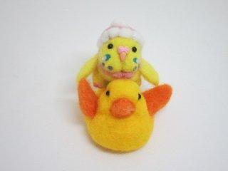 新作 アヒル玩具に乗ったベビーインコ バッグチャームにも変身 ハルクイン黄 ゆこりん工房 鳥