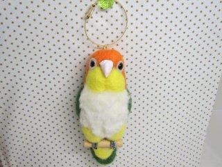 羊毛フェルト 可愛いシロハラインコのバッグチャーム 大き目 ゆこりん工房 鳥