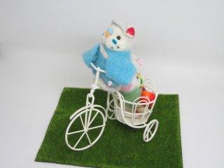 羊毛フェルト 元気いっぱい自転車セキセイインコオブジェ ゆこりん工房 鳥 水色&イエローフェイス黄緑