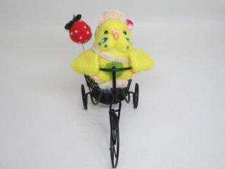 羊毛フェルト 元気いっぱい自転車セキセイインコオブジェ ゆこりん工房 鳥 イエローハルクイン黄&水色