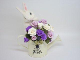 羊毛フェルト&樹脂粘土 白兎の可愛い薔薇オブジェ ゆこりん工房 薔薇 うさぎ
