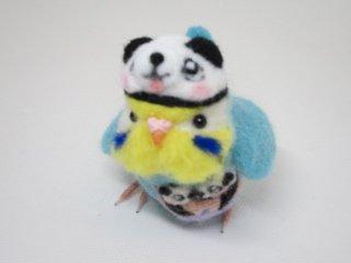 新作 双子パンダ誕生記念 羊毛フェルトパンダ着ぐるみセキセイインコ ゆこりん工房 イエローフェイス水色