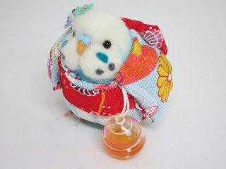夏 羊毛フェルト可愛い浴衣インコフィギュア 水色 ゆこりん工房