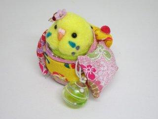 夏 羊毛フェルト可愛い浴衣インコフィギュア ゆこりん工房 黄緑