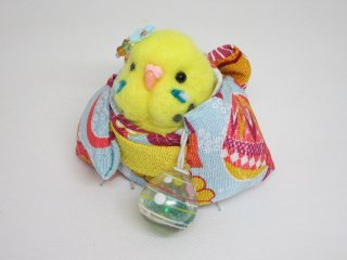 夏 羊毛フェルト可愛い浴衣インコフィギュア ゆこりん工房 ハルクイン黄