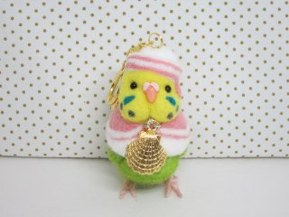 新作 夏 羊毛フェルト 船長セキセイインコキーホルダー 黄緑 ゆこりん工房 鳥